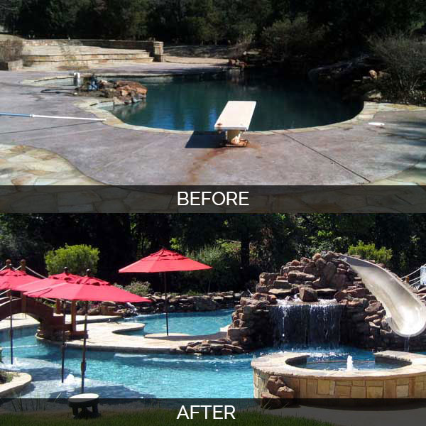 Before and after scenic images of pool area that has been transformed with a brand new pool area with red umbrellas